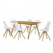 [en.casa] Set de comedor mesa bambú 180x80 + 6 sillas blancas tapizadas piel sintética
