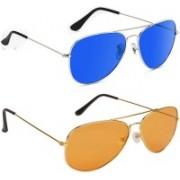 Elligator Aviator Sunglasses(Blue, Orange)
