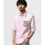 ボーダーPKシャツ 7S【ナノ・ユニバース/nano・universe メンズ シャツ・ブラウス ピンク ルミネ LUMINE】