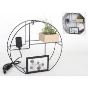 Cirkel Design Wandrek met Fotolijst, lamp en Plant 35x11x33cm – Decoratie – Woonaccessoires – Sfeer – Cabinet – Verlichting