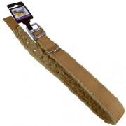 Hundhalsband pälsfodrat brun/beige 25mm x 65cm