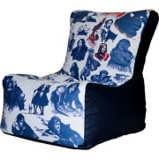 ComfyBean - Printed - Designer - Bean Chair - Size Kids - Filled With Beans Filler Anime Blue