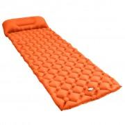 vidaXL Надуваем матрак с възглавница, 58x190 см, оранжев