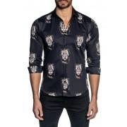 Jared Lang Lion Print Trim Fit Shirt BLACK LION