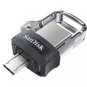 128GB USB Flash Drive, SanDisk Ultra Dual Drive m3.0, USB 3.0 + micro USB, сива