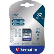Memóriakártya, SDHC, 32GB, C10/U3, 90/45MB/sec, VERBATIM PRO (MVS32GP)