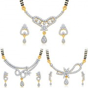 Sukkhi Blossomy Gold Plated CZ Set of 3 Mangalsutra Set Combo For Women