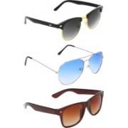 Abner Clubmaster, Aviator, Wayfarer Sunglasses(Black, Blue, Brown)