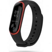 Curea silicon Tech-Protect Smooth Xiaomi Mi Band 3/4 Black/Red