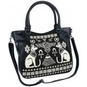 Banned Alternative Anubis Handtasche-schwarz weiß Onesize Damen