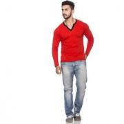 Demokrazy men's Red full sleeves T-shirt