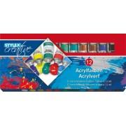 Tempera acril, 12 culori/set