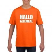 Shoppartners Hallo allemaal tekst oranje t-shirt voor kinderen