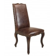 French Provincial Dining Chairs - Brown Bi-Cast Leather - Walnut Legs