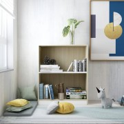 vidaXL Етажерка за книги, бяло и дъб сонома, 60x24x74,5 см, ПДЧ