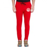 Cliths Red Slim Fit Zeep Printed Trackpant for Men
