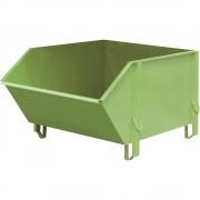 Stahlblechbehälter Volumen 1 m³, ohne klappbare Schüttklappe resedagrün