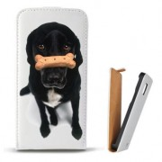 Toc Samsung Galaxy S Duos S7562 Trend Plus S7580 Trend S7560 Husa Piele Ecologica Flip Vertical Alba Model Black Puppy