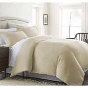 CELINE LINEN Wrinkle & Fade Resistant 2-Piece Duvet Cover Set Protects and Covers Your Comforter/Duvet Insert, 1500 Series Luxurious 100% Hypoallergenic Silky Soft, Twin/Twin XL, Cream