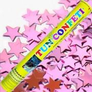 Tun de confetti 40 cm cu stelute roz 1 buc