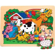 Kids Playschool Preschool Puzzled Raised Puzzle Small Farm Animal Wooden Toys