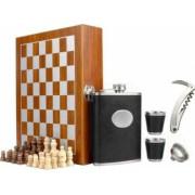 Set format din 5 piese Caseta din lemn cu 2 pahare sticla whiskey tirbuson si joc sah negru Pufo