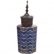 Ánfora cerámica 34 cm color azul y dorado