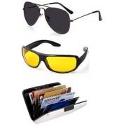 Ediotics Attitude Black Aviator Sunglasses Yellow Night Driving Sunglasses Alumi Wallet Combo