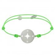 Les Poulettes Bijoux Bracelet Lien Fluo Médaille Argent Ronde Rose des Vents - Vert