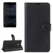 Para Nokia 3 Litchi Texture Horizontal Flip Funda De Ecocuero Con Soporte Y Ranuras Para Tarjetas Y Cartera (negro)