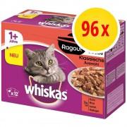 Whiskas Fai scorta! Whiskas Ragout 96 x 85 g - 1+ Selezione Carni Bianche in Gelatina