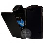 Sony Xperia go ST27i Flip Калъф Черен + Протектор