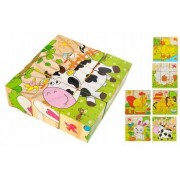 Set 6 in 1 cuburi Puzzle din lemn pentru copii 6 imagini