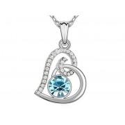 Swarovski kristályos nyaklánc szívalakú kék köves medállal