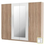 Négyajtós szekrény, tükrös, tölgy sonoma/fehér, MARTINA