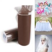 Fashion Tulle Roll 20D Polyester Wedding Birthday Decoration Decorative Crafts Supplies Size: 160cm x 25cm(Brown)