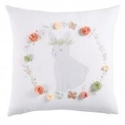 Maisons du Monde Cuscino in cotone bianco stampa coniglio e fiori, 40x40 cm