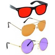 Elligator Aviator, Wayfarer, Round Sunglasses(Red, Orange, Violet)