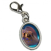Graphics and More Stingray - Fish Underwater Ocean Diving Dive Antiqued Bracelet Pendant Zipper Pull Oval Charm with Lobster Clasp