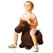 Jumping Horse Extra Thickness Rides on Toy Inflatable Bouncing Jumping Horse Child Inflatable Rubber Horse Hopper (Ride-on Bouncy Animal) Soft Fabric Cover - 56 cm