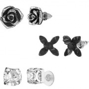 GoldNera Antique Silver Stud Earrings Solitaire Leaf Flowery Designs Set of 3 For Girls (STYLE 6)