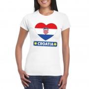 Bellatio Decorations Kroatische vlag in hartje shirt wit dames