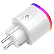 Priza inteligenta Qsmart 16A 3840W, Wi-fi, Amazon Alexa si Google Home, iOS/ Android, Control vocal, Ambient LED
