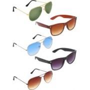 Zyaden Aviator, Aviator, Aviator, Wayfarer, Wayfarer Sunglasses(Green, Blue, Brown, Brown, Black)