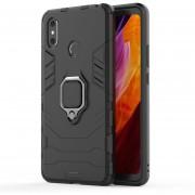 PC + TPU Resistente Estuche Protector Con Anillo Magnético Titular De Xiaomi Mi - Max 3 (negro)