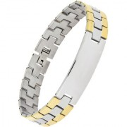 The Jewelbox Biker Id Stainless Steel 18K Gold Rhodium Plated Matte Finish Bracelet For Boys Men