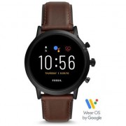 Ceas Smartwatch Fossil The Carlyle HR, Black/Brown Leather