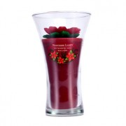 Floral Vase Fine Fragranced Candle - Red Poinsetta with Red Base 9 inch Lumânare Fin Parfumată în Vas Floral - Red Poinsetta with Red Base