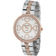 Howdy Crystal Studded White Dial Analog Watch With Multicolour Stainless Steel chain