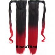 Culík - cop rovný s omotávkou 57 cm - Ombre styl (odstín Black T Red) - Světové Zboží
